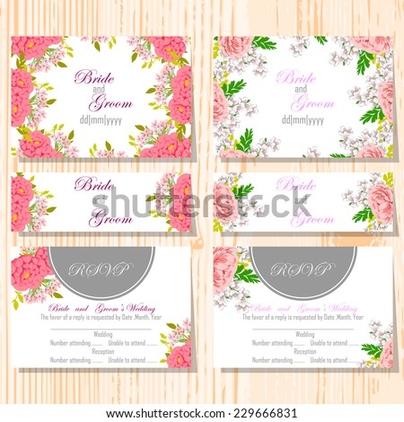 Wedding invitation cards with floral elements #229666831