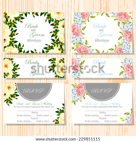 Wedding invitation cards with floral elements #229851115