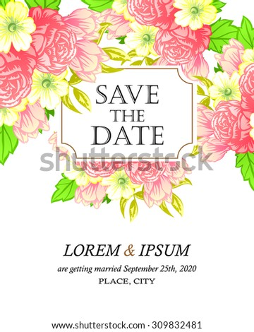 Wedding invitation cards with floral elements #309832481