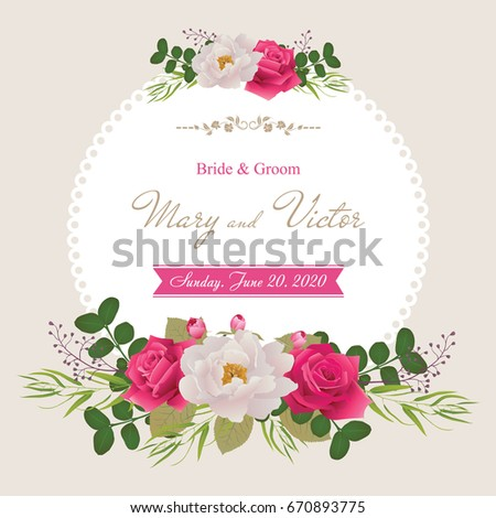 stock-vector-wedding-invitation-cards-with-flower-beautiful-white-peony-and-red-roses-use-for-boarding-pass