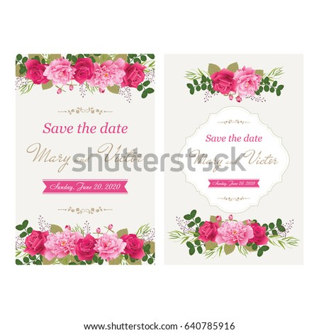 Wedding invitation cards with flower. (Use for Boarding Pass, invitations, thank you card.) Vector illustration. EPS 10