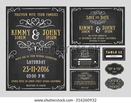 Free chalk save the date labels vector download free vector art wedding invitation chalkboard design with flourishes line include invitation card save the date stopboris Images