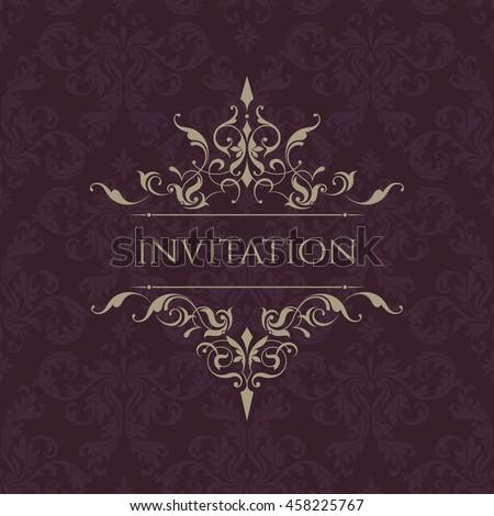 Wedding invitation. Classic border. Decorative frame. Template for greeting cards, invitations, menus. Graphic design page.
