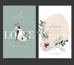 Wedding invitation design. Drawing bride and groom character, illustration, vector. Celebration, event, invitation, wedding dress, groom, romantic, pastel tones. Bridal flower bouquet, leave.