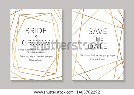 Wedding invitation design or greeting card templates with golden geometric borders and lines on a white burgundy background.