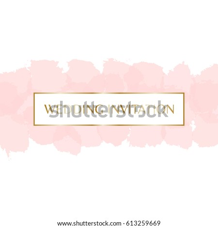 Wedding invitation design with gold letters message and pastel pink watercolor brush strokes in the background.