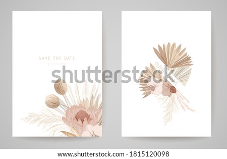 Wedding invitation dried tropical palm leaves, flowers card, dry pampas grass watercolor minimal template vector. Botanical Save the Date golden foliage modern poster, trendy design, luxury background