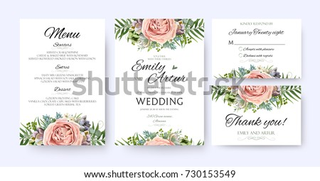 Wedding Invitation, floral invite card Design: garden lavender pink peach Rose Succulent wax green palm fern leaves elegant greenery, berry forest bouquet frame print. Vector menu, rsvp, thank you set #730153549