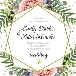 Wedding Invitation, floral invite card Design: Peach lavender pink garden Rose, succulent, wax, eucalyptus, green palm leaves, forest fern greenery geometric golden frame print. Vector cute copy space
