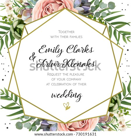 Wedding Invitation, floral invite card Design: Peach lavender pink garden Rose, succulent, wax, eucalyptus, green palm leaves, forest fern greenery geometric golden frame print. Vector cute copy space