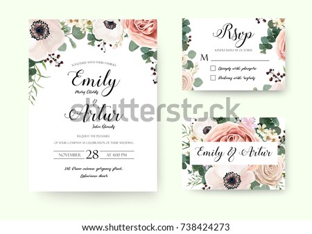 Wedding Invitation floral invite Rsvp cute card vector Designs set: garden lavender pink peach Rose white Anemone wax green Eucalyptus thyme leaves romantic trendy greenery forest bouquet rustic print