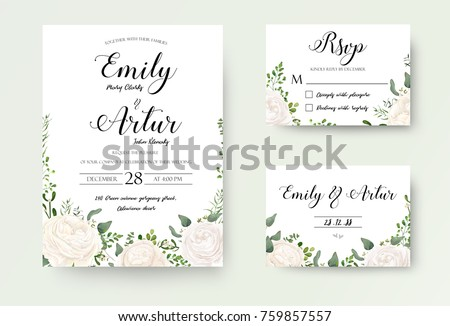 Wedding Invitation floral invite Rsvp cute card vector Designs set: white garden Ranunculus, Rose flower, fern, eucalyptus, mistletoe green leaf & berry romantic trendy greenery forest bouquet #759857557