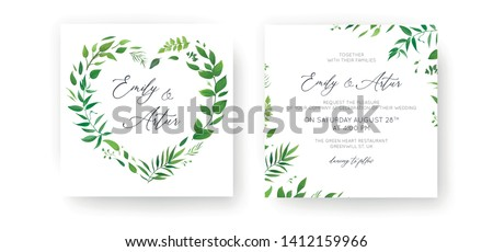 Wedding Invitation, floral invite, save the date card set. Watercolor green tropical leaf, lush greenery, eucalyptus, forest leaves, branches decorative wreath, frame. Elegant & lovely rustic template