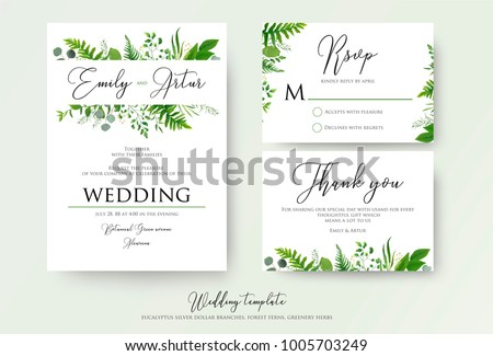 Tropical vector wedding invitation download free vector art stock wedding invitation floral invite thank you rsvp modern card design green fern stopboris Images