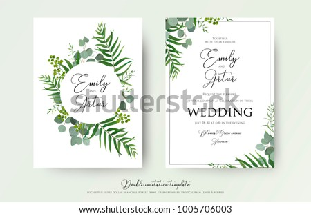 Wedding Invitation, floral invite thank you, rsvp modern card Design: green tropical palm leaf greenery eucalyptus branches decorative wreath & frame pattern. Vector elegant watercolor rustic template #1005706003