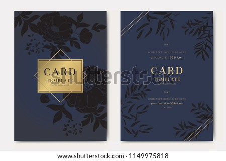 Wedding Invitation, floral invite thank you, rsvp modern card Design in black peony with rose and tropical palm leaf  eucalyptus branches with dark blue background Vector elegant rustic template