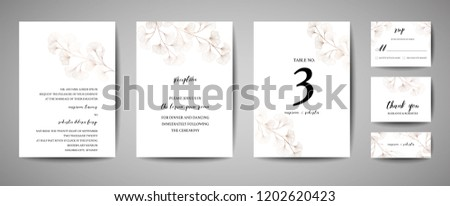 Wedding Invitation, floral invite thank you, rsvp modern card Design in copper ginkgo biloba leaves branches decorative. Vector elegant rustic template