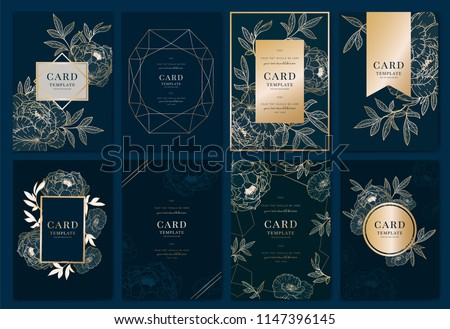 Wedding Invitation, floral invite thank you, rsvp modern card Design in golden peony with poppy and tropical palm leaf decorative Vector elegant rustic template with Navy Blue background