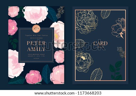 Wedding Invitation, floral invite thank you, rsvp modern card Design in pink rose , peony with metallic copper gold and leaf greenery  branches decorative Vector elegant rustic template