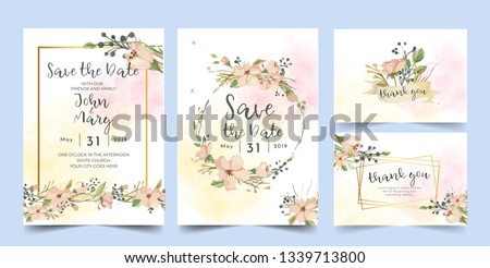 Wedding Invitation, floral invite thank you, rsvp modern card Design.Vector elegant watercolor rustic template