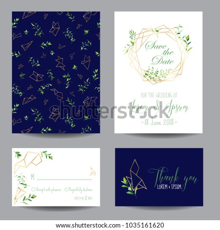 Wedding Invitation Floral Templates Set. Save the Date Cards with Place for your Text and Tropical Leaves. Vector illustration
