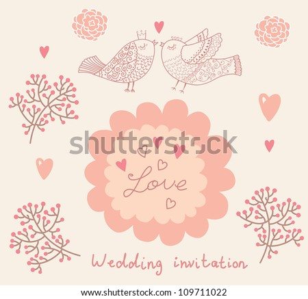 Wedding invitation. Flower pattern