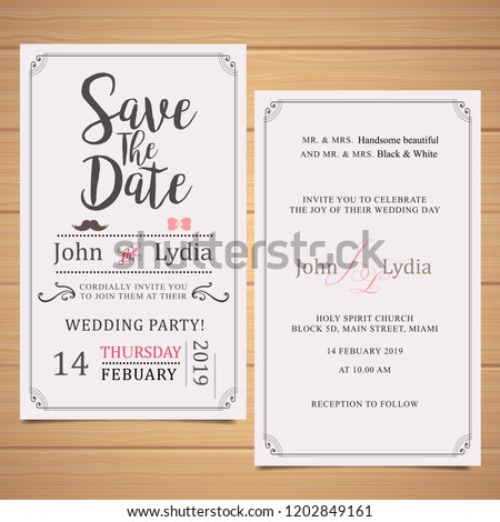 wedding invitation font and lack vector #1202849161