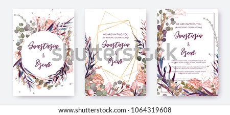 stock-vector-wedding-invitation-frame-set-flowers-leaves-watercolor-isolated-on-white-sketched-wreath