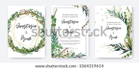 Wedding invitation frame set; flowers, leaves, watercolor, isolated on white. Sketched wreath, floral and herbs garland with green, greenery color. Handdrawn Vector Watercolour style, nature art. #1064319614