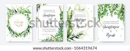 Wedding invitation frame set; flowers, leaves, watercolor, isolated on white. Sketched wreath, floral and herbs garland with green, greenery color. Handdrawn Vector Watercolour style, nature art. Stockfoto ©