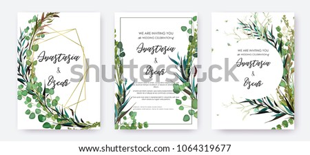 Wedding invitation frame set; flowers, leaves, watercolor, isolated on white. Sketched wreath, floral and herbs garland with green, greenery color. Handdrawn Vector Watercolour style, nature art. #1064319677