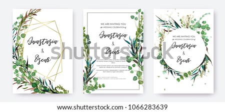 Wedding invitation frame set; flowers, leaves, watercolor, isolated on white. Sketched wreath, floral and herbs garland with green, greenery color. Handdrawn Vector Watercolour style, nature art. #1066283639