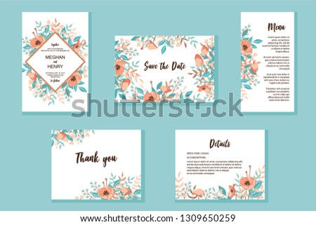 Wedding invitation frame set. Wild flowers, leaves, isolated on white. Sketched wreath, floral, herbs garland in trendy rust color. Hand drawn Vector in fashion style, nature art, background. #1309650259
