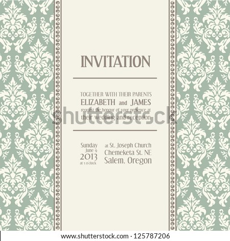 Wedding invitation in classical style. Text space with example. Elegant invitation card in classical style - stock vector