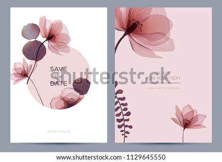 Wedding invitation in the botanical style. Pink flowers on a white background. Background for the invitation, shop, beauty salon, spa.