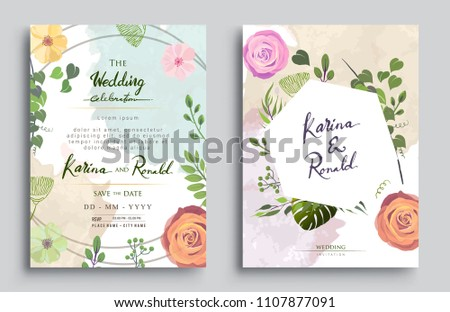 Wedding Invitation, Invitation card with floral and green tropical leaves, modern card Design, decorative wreath & frame pattern. Vector elegant watercolor template #1107877091