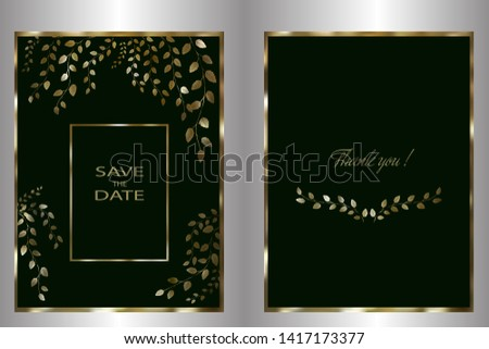 Wedding invitation, invitation to Torres, invitation template. Golden tree branches with golden frame on a black-green background that can be changed. Vector illustration.