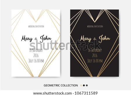 Wedding Invitation, invite card design with Geometrical art lines, gold foil border, frame. Vector modern geometric abstract template layout. #1067311589