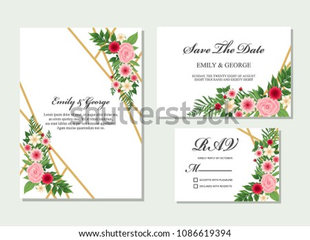 Wedding invitation, invite, rsvp, save the date card design with elegant flower pink, red flowers garden anemone, wax flowers eucalyptus branches leaves, cute golden geometrical pattern template set #1086619394