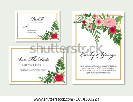 Wedding invitation, invite, rsvp, save the date card design with elegant flower pink, red flowers garden anemone, wax flowers eucalyptus branches leaves, frame and template set vector #1094380223