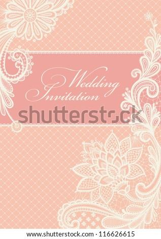 Wedding invitation Lace background with a place for text Vintage lace vector design.