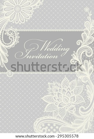 Royalty free wedding invitation lace background 116626615 stock wedding invitation lace background with a place for text vintage lace vector design stopboris Images