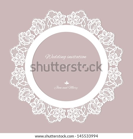 Wedding invitation Lace background with a place for text Vintage lace vector design realistic