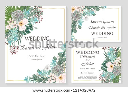 Wedding invitation leaves and flowers, watercolor, isolated on white.  Vector Watercolour.