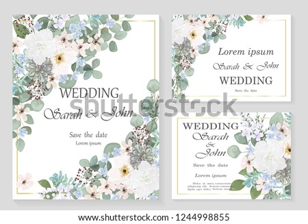 Wedding invitation leaves and flowers, watercolor, isolated on white.  Vector Watercolour. #1244998855