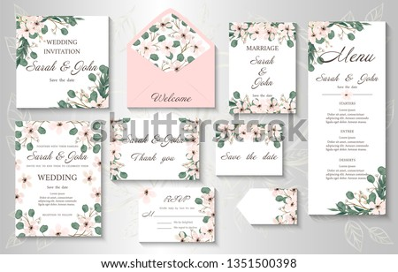 Wedding invitation, menu, information, label, card design with  gently pink watercolor flowers. Template set. Vector illustration.  #1351500398