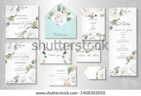 Wedding invitation, menu, information, label, card design with  gently watercolor flowers. Template set. Vector illustration.  #1408302050