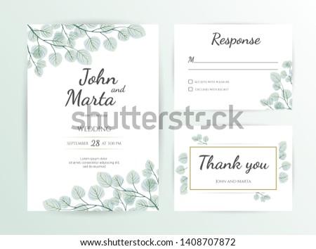 Wedding Invitation modern card Design: green tropical leaf greenery eucalyptus branches decorative wreath & frame. Vector watercolor rustic template. eps10. #1408707872