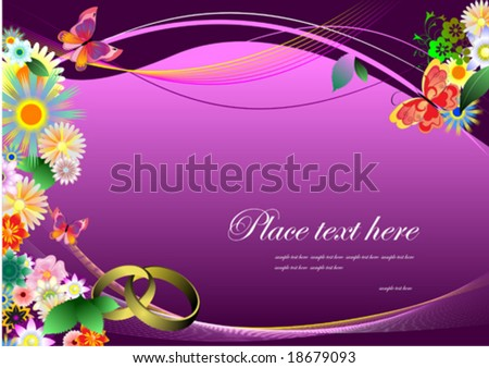stock vector Wedding invitation on purple background