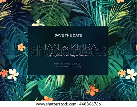 Shutterstock Wedding invitation or card design with exotic tropical flowers and leaves